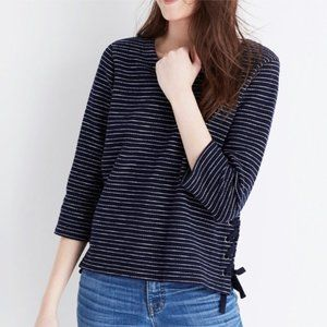 Madewell Striped Lace Up Sides Boxy Top